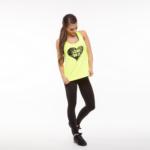 Neon sárga női trikó duplán csavart hátú