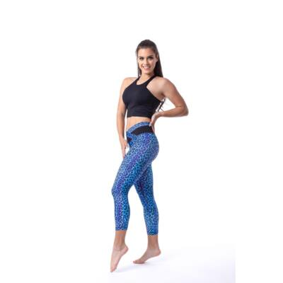 Indi-Go Leopard Blue fitness capry