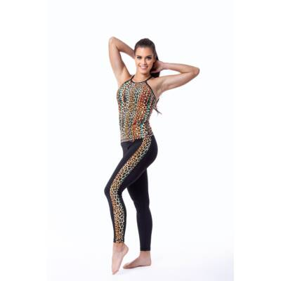 Indi-Go Leopard Yellow fitness leggings csíkkal
