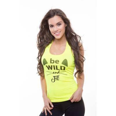 Be Wild fitnesz- birkózó trikó neonsárga