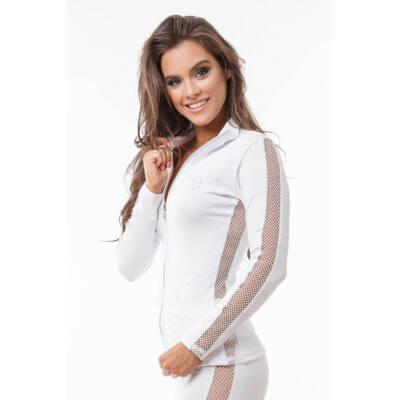 Indigo Fitness Style -Fishnet Réka Zip felső, fehér