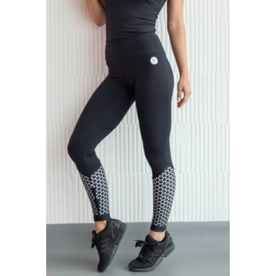 Lézer fitness leggings fekete, fehér béléssel