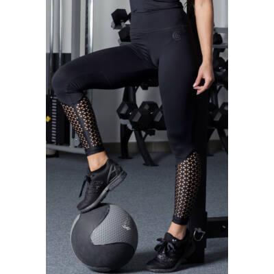 Lézer fitness leggings, fekete