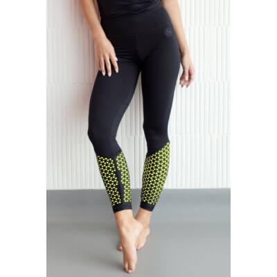 Lézer fitness leggings fekete, neonsárga béléssel