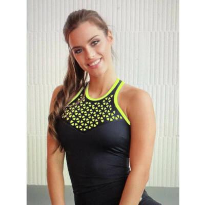 Lézer fitness trikó, neonsárga béléssel