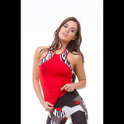 Zebra-mix trikó, piros 'S'