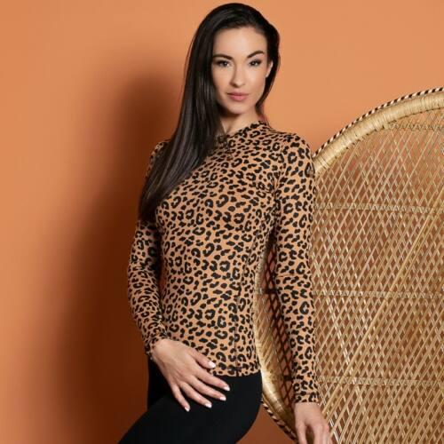 Indi-Go Leopard Skin hosszúujjú felső 'S'