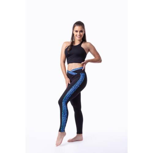 Indi-Go Leopard Blue fitness leggings csíkkal, 'S'