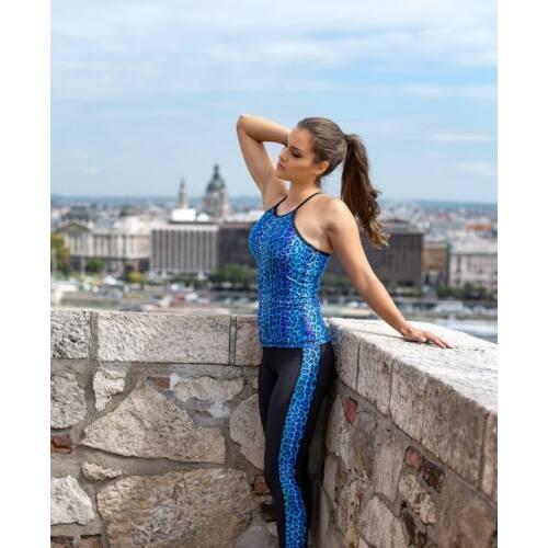 Indi-Go Leopard Blue fitness capry csíkkal, 'S'