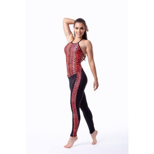 Indi-Go Leopard Red fitness leggings csíkkal, 'S'