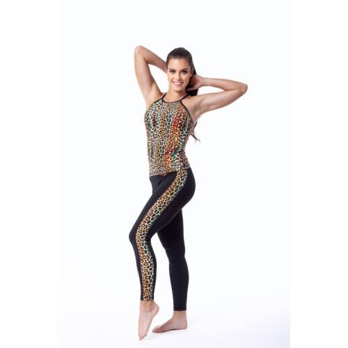 Indi-Go Leopard Yellow fitness leggings csíkkal, 'S'