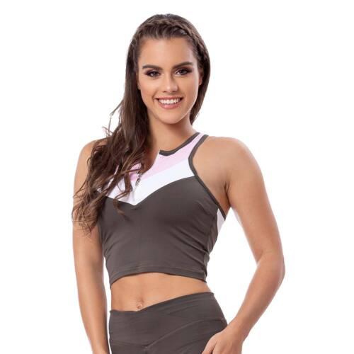 Indigo style fitness top – Tricolor khaki