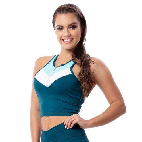 Indigo style fitness top – Tricolor petrol kék