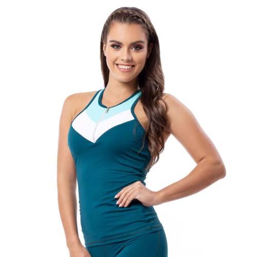 Indigo style fitness trikó – Tricolor petrol kék