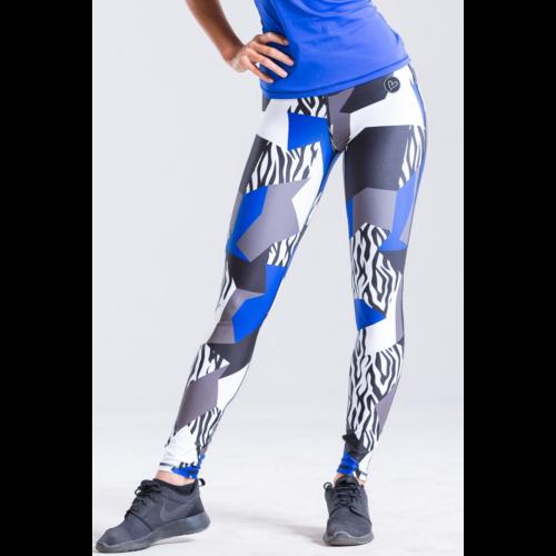 Királykék fitnesz bokanadrág zebra mintával