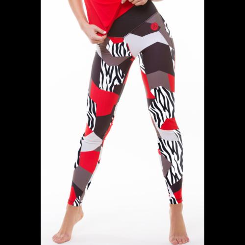 Piros zebramintás bokanadrág