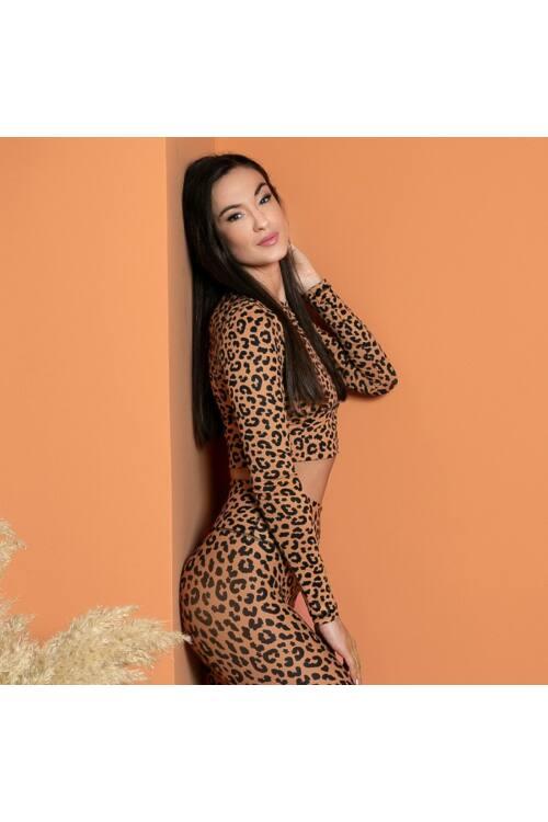 Indi-Go Leopard Skin hosszúujjú croptop 'M'