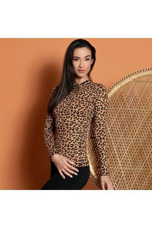 Indi-Go Leopard Skin hosszúujjú felső 'L'