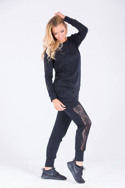 Női szabadidő ruha fekete - fitness- Black angel